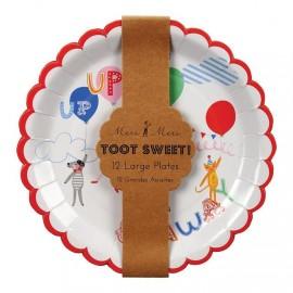 Piatti bambini con dolci coriandoli 12 pezzi