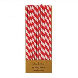 Cannucce carta righe rosse 24 pezzi
