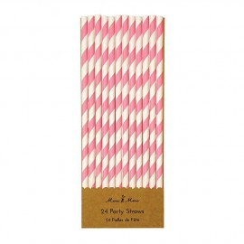 Cannucce carta righe rosa 24 pezzi