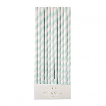Cannucce carta righe menta 24 pezzi