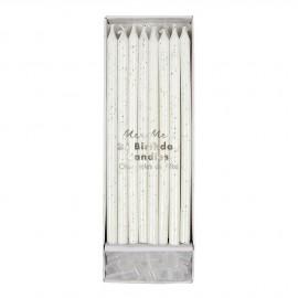 Candele lunghe con glitter argento 24 pezzi