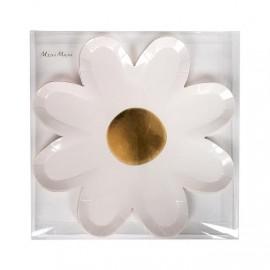 Piatto fiore bianco e oro 8 pezzi
