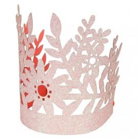 Corone glitter rosa 8 pezzi