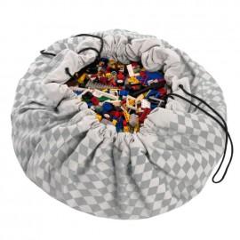 Sacco porta giochi e tappeto rombi grigi