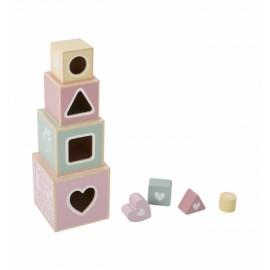 Blocchi impilabili con formine legno rosa
