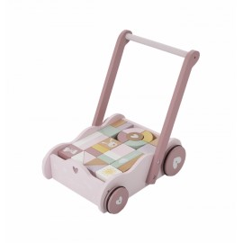 Baby walker rosa legno con mattoncini