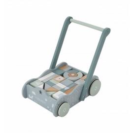 Baby walker blu legno con mattoncini