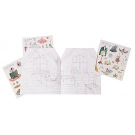 Quaderno casa da colorare + stickers c'era una volta