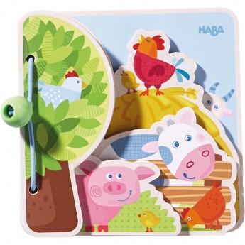 """Libro per neonati in legno """"amici della fattoria"""""""
