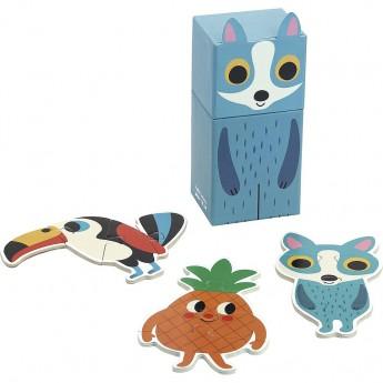 Set 3 mini Puzzle in legno 4 pezzi