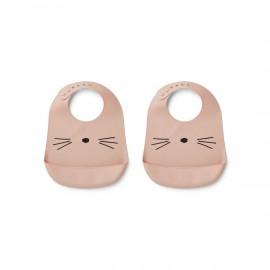 Bavaglia Liewood in silicone gatto rosa