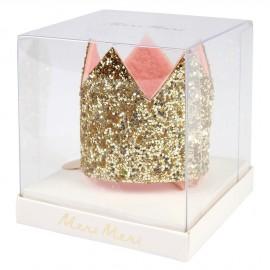 Mini corona glitter oro con molletta per capelli