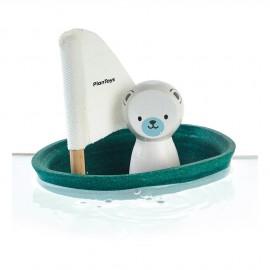 Barca a vela galleggiante orso polare