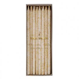 Candele meri meri lunghe con glitter oro 24 pezzi