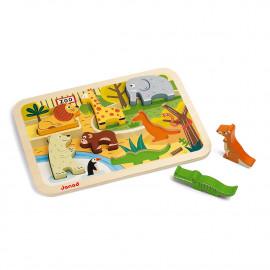 Puzzle ad incastro janod animali dello zoo