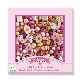 Perle in legno uccellini rosa djeco