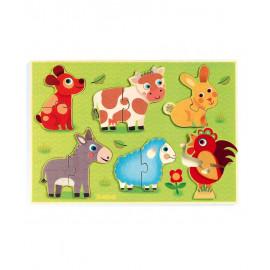 Puzzle in legno coucou cow djeco