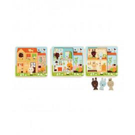 Puzzle a tre livelli chez carrot rabbit cottage djeco
