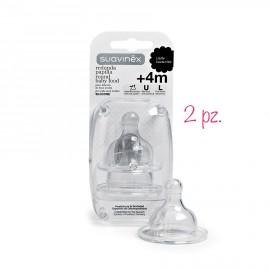 Tettarelle pappa biberon Sauvinex silicone +04 mesi