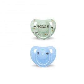 Coppia ciucci silicone Suavinex +18 mesi, ciucci anatomici azzurri