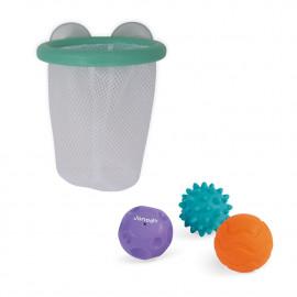 Canestro da bagno con palline sensoriali janod