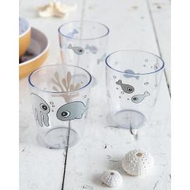 Set 3 mini bicchieri done by deer  sea frends grigio mostarda