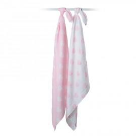Set swaddle copertina mussola di cotone 100x100 Cuori-Rosa lulujo baby