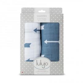 Set swaddle copertina mussola di cotone 100x100 Frecce Azzurro lulujo baby