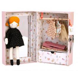 Valigetta armadio bambola Bianca con vestitini moulin roty