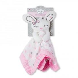 Doudou neonato coniglietto rosa in mussola di cotone Lulujo baby -Poppykidshop