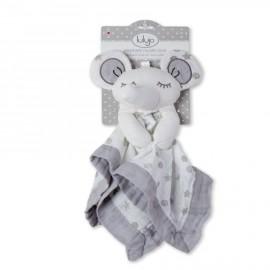 Doudou neonato elefantino grigio in mussola di cotone Lulujo baby -Poppykidshop