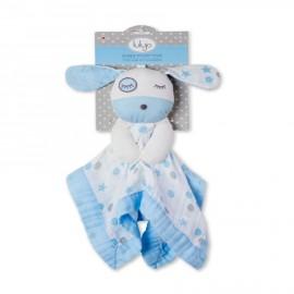 Doudou neonato cagnolino azzurro in mussola di cotone Lulujo baby -Poppykidshop