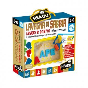 Lavagna di sabbia leggo e scrivo Montessori Headu 3-6 anni confezione - Poppykidshop