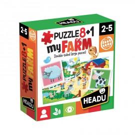 Puzzle 8+1 My Farm Headu 2-5 anni confezione - Poppykidshop